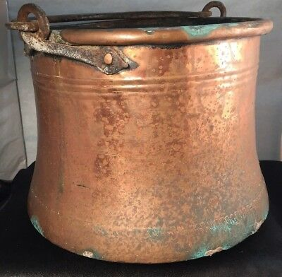 Antique Primitive Hand Hammered Copper Vessel Hand Wrought Cast Iron Bale WOW!