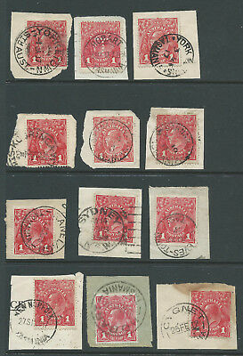 Australia KGV 1d Red Used on Piece Assortment