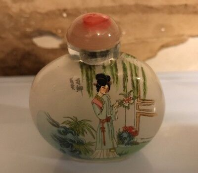 Chinese antique or vintage ( Reverse )inside painted glass snuff bottle signed