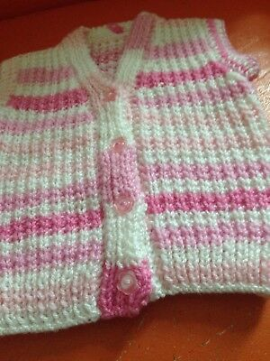 baby hand knitted sleeveless vest 6-12 months pink multicoloured new