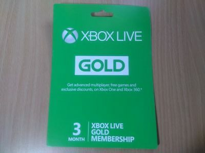 XBOX Xbox Live 3-Month Gold Membership Card MICROSOFT XBOX 360 / ONE / X A