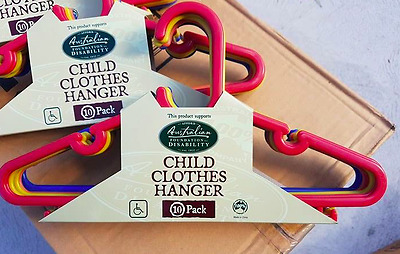 60x Brand New Childrens Clothes Hangers Coat Coathangers Assorted Colours
