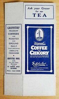 Original Vintage Griffiths Bros 1/2 Lb Packet Signal Coffee & Chicory Outer Box