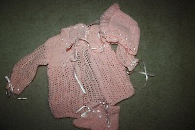 Hand Knit Sweater, Booties and Bonnet, Perfect Condition, Never Worn