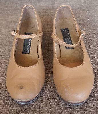 """""""Energetiks """" Beige  Leather Tap Buckle Shoes.Size 7.5"""
