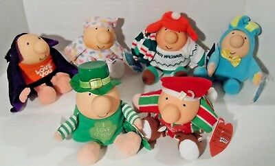 Lot of 6 ZIGGY Plush Dolls - Easter/Christmas/Valentine's Day/St. Patrick's Day