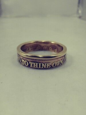 "Size 12 Bronze Sobriery Coin Ring ""To thine own self be true"" Thin band"