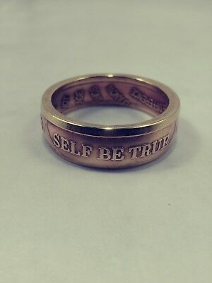 "Size 14.5 Sobriety Coin ring , thin band , ""To Thine Own Self Be True"" BRONZE AA"