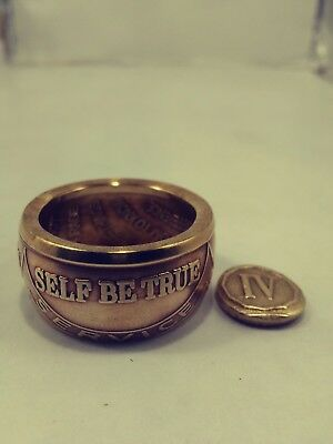"""4 Years of Sobriety""  Bronze Coin Ring, chain, bracelet , 4 year chip, BOGO 2x"
