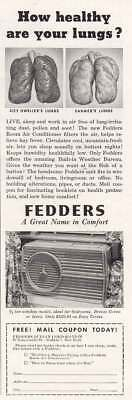 1953 Fedders Air Conditioner: Lungs Vintage Print Ad