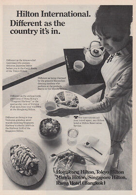 1970 Hilton Hotels: Different As the Country It's In Vintage Print Ad