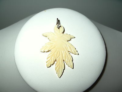 Vintage Carved Faux Celluloid Plastic Tree Branch Leaves Pendant