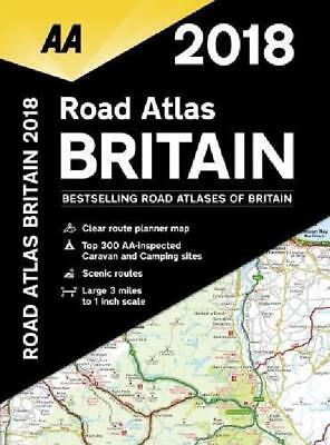 Aa Road Atlas Britain 2018 Spiral Bound New Uk Map Latest England Scotland Wales