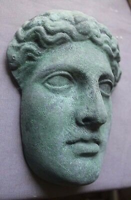 Apollo Greek Roman Satyr Mask Gilded Copper Plaque Gothic Dionysus Oddity Bust