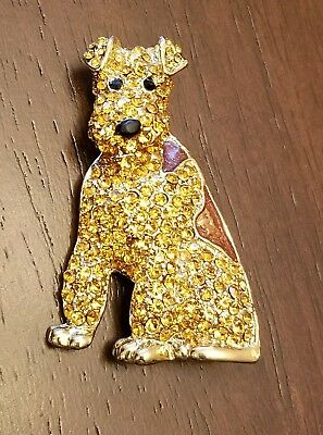 Airedale, Lakeland, Welsh Terrier Dog Rhinestone and Enamel pin brooch