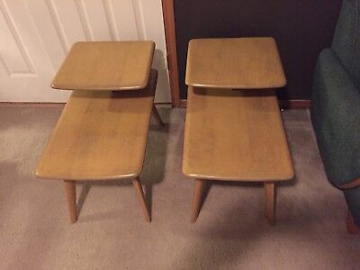 Pair Heywood Wakefield Side Step End Tables