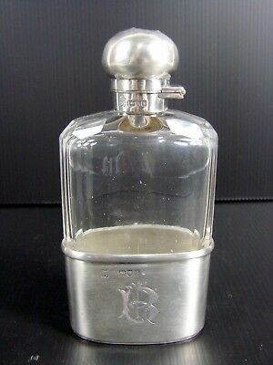 Antique Victorian solid Silver & Glass Hip Flask W & G Neal London 1902