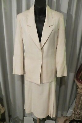 VINTAGE 80's  ~ THE CLOTHING COMPANY ~ Cream SKIRT SUIT * Size 12 *