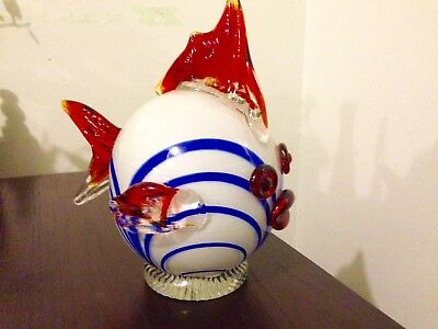 Vintage Cute Art Deco Glass Gold Fish. Collectable Art Glass.