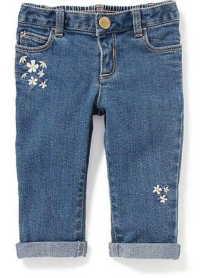 Old Navy Jeans Size 0 3 6 12 18 24 months Floral Skinny Boyfriend Infant New