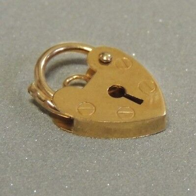 Solid 9K, Yellow Gold, Heart Padlock Catch