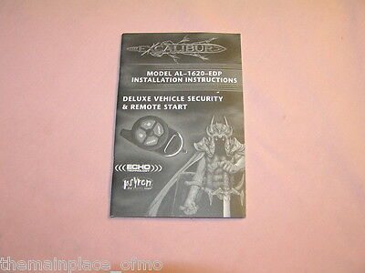 Excalibur Remote Start Model AL 1620 EDP Installation Instructions Manual ONLY