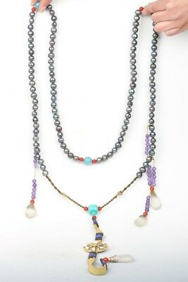 Chinese Exquisite black pearl Handmade necklace