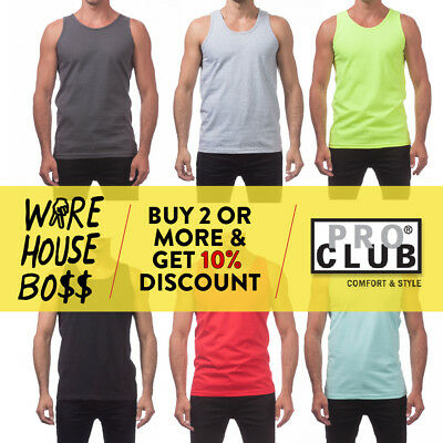 Proclub Pro Club Mens Plain Tank Top Casual Sleeveless Muscle Tee Fitness Gym