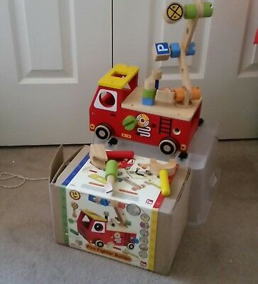 Fire Fighter Builder Truck. WOODEN SHAPE SORTER. Educational Play Toy. V.G.C