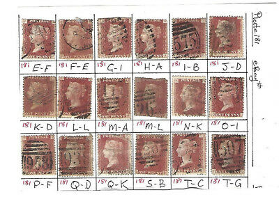 GREAT BRITAIN QUEEN VICTORIA 1d RED SG 43 1858-70 PLATE 181 X 18
