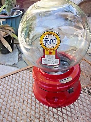 Vintage Early Ford Gumball Machine One Cent, Penny, Glass Globe