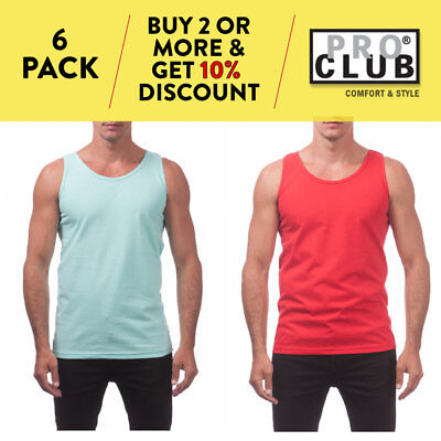8099688f8 6 Pack Proclub Mens Tank Top Muscle T Shirt Gym Sleeveless Shirts Plain Hip  Hop