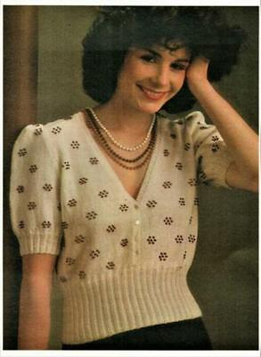 Vintage Ladies Beaded Summer jacket or top Knitting Pattern