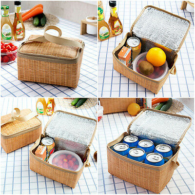 Imitation Rattan Plaited Insulated Waterproof Picnic Lunch Box Storage Bag Pouch