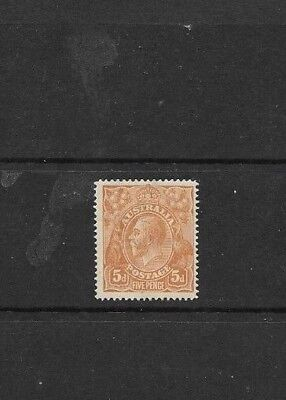 STAMPS AUST KGV  5d  BROWN SINGLE WMK MINT HINGED