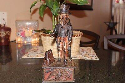 Shepard Hardware Cast Iron Mechanical Bank - Uncle Sam - Nice Working Example!