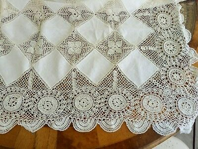 Very pretty vintage/antique white linen and lace tablecloth