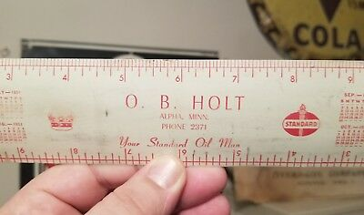 1951 Vintage Standard Red Crown Gas Station Oil Metal Ruler Alpha Minnesota