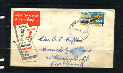 New Zealand 1964 Fdc Offical Cover Keep Roads Safe Cds New Plymouth Lot 009