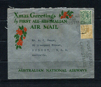 Gb Rare Kgv 1932 ' First Xmas Greetings Stamp Cover By All Australian Air Mail'