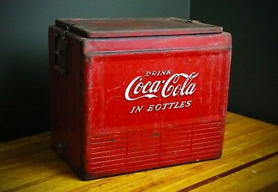 Vintage 40's 50's Coca Cola In Bottles Coke Cooler Embossed Beach Camping Travel