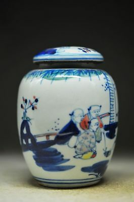 PERFECT CHINESE BLUE AND WHITE PORCELAIN HANDWORK PEOPLE POT zp
