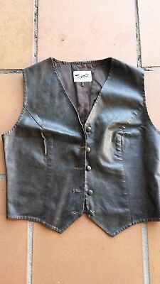 Womens Vintage Leather Look Vest Chocolate Brown Melbourne Small
