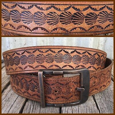 VINTAGE Tan TOOLED LEATHER BELT Brass Buckle SEASHELL PATTERN