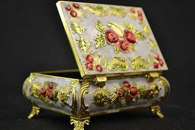CHINA RARE OLD MIAO SILVER & CLOISONNE CARVING BEAUTIFUL USABLE JEWEL BOX zp