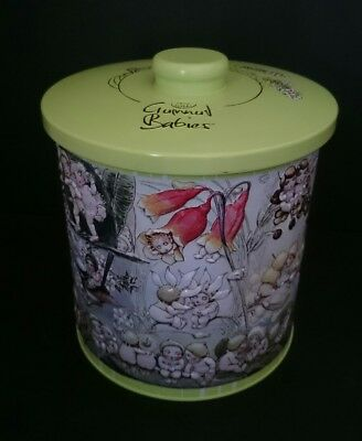 Gumnut Babies Biscuit Tin Embossed 18cm high x 15.5cm
