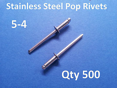 500 POP RIVETS STAINLESS STEEL BLIND DOME 5-4 4mm x 10.2mm 5/32""