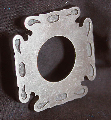"2.5""x2.5"" Vintage NOS Antique Nickel Brass Door Cylinder Mortise Key Hole Plate"