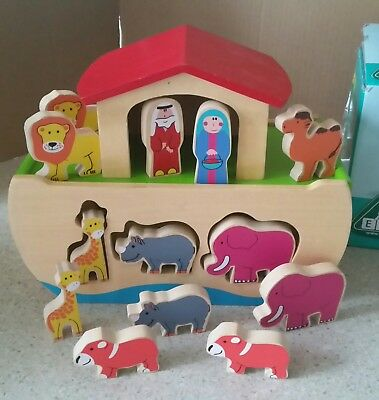 ELC NOAH'S ARK WOODEN SHAPE SORTER. Educational Play Toy.