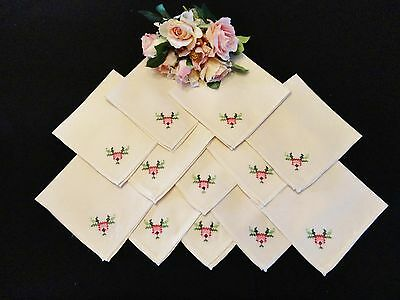 12 Vintage and Old Napkins in Ecru Shades